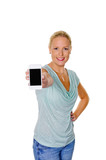 Frau mit ihrem Smartphone Handy