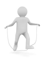 man jumps on skipping rope. Isolated 3D image