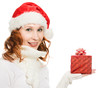Attractive woman in Christmas presents gift