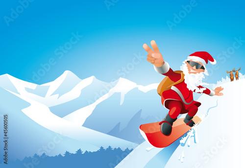 Weihnachtsmann snowboarding