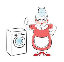 Бабушка купила новую стиральную машину.
