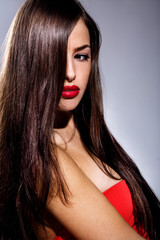 brunette with red lips