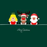 Sitting Christmas Angel, Rudolph & Santa Green Background
