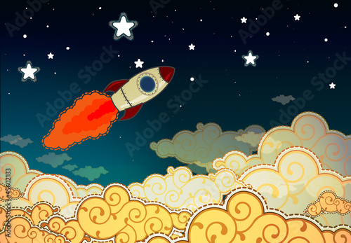 Foto Spatwand Kosmos Cartoon rocket flying to the stars