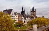 Rhine River Embankment in Cologne in the autumn in cloudy day