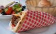 Mediterranean gyros pita and greek salad