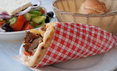 Mediterranean gyros pita and greek salad