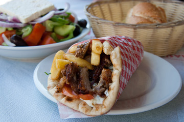Gyros Pita, mediterranean street food and greek salad