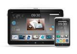Modern digital tablet with mobile smartphone