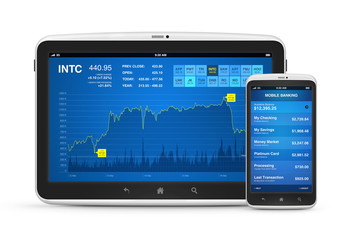Stock market and mobile banking on digital devices