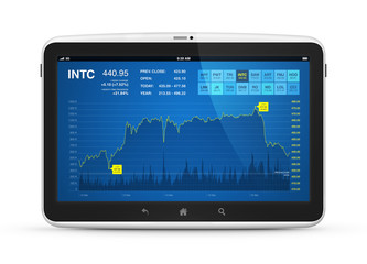 Stock market data on digital tablet