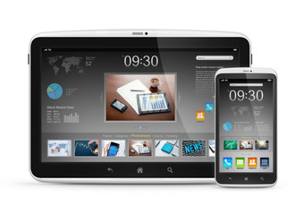Modern digital tablet with mobile smartphone