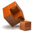 3d orange cubes