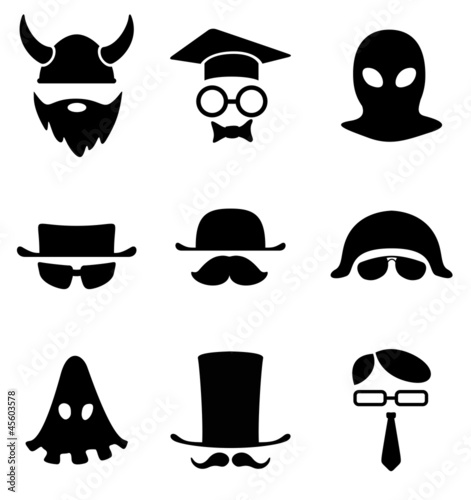 Character Logo collection. B/W Avatar. Vector icon.