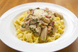 Tagliatelle with mushrooms and chicken breast