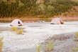Canoe tent camp at Yukon River in taiga wilderness