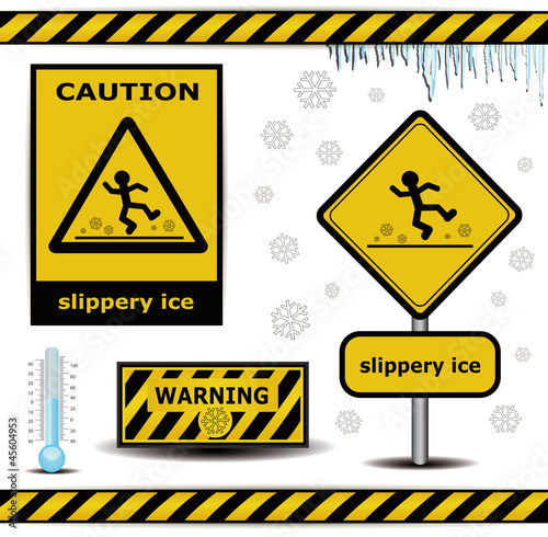 raster sign caution slippery ice warning collection