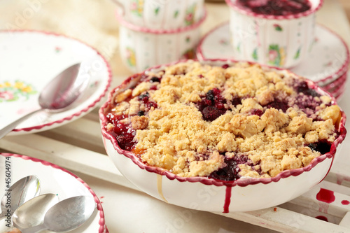 Himbeer Pfirsich Crumble