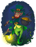 Leprechaun with gold coin pot of Saint Patrick's Day
