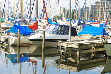 Boats at the marina Huizen. Netherlands