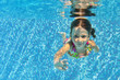 Happy underwater child in swimming pool,kids sport