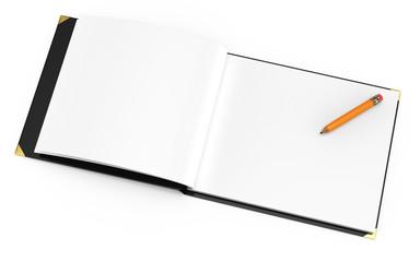 open album with pencil