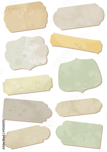 Weathered ornamental tag labels