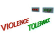 Word Violence stop before red signal and word Tolerance GO on gr