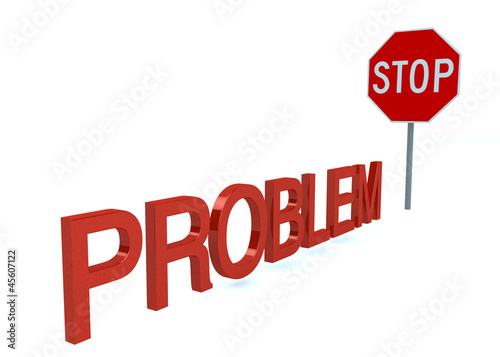 Word PROBLEM Before Stop Sign isolated on a white background