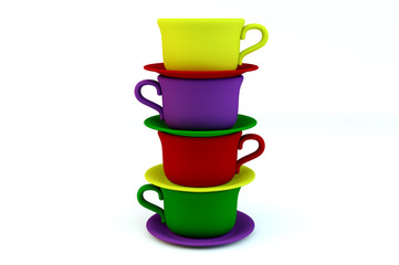 Colored stacked coffee frosted cups and saucer on white backgrou