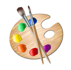 Art palette with paint brush for drawing