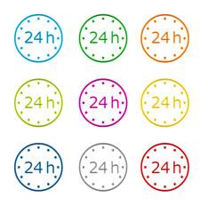 Iconos de colores con el símbolo de 24 h.