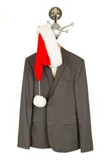 Business suit with a santa hat