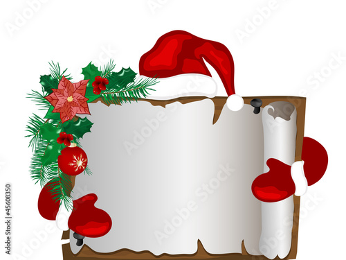 Christmas parchment with Santa's hat and gloves