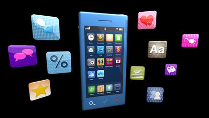 Modern smartphone isolated on black