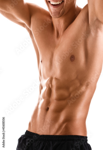 Half naked body of muscular athletic man