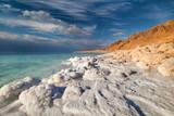 View of Dead Sea coastline at sunset time - Fine Art prints