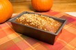 Pan of pumpkin bread fresh from the oven