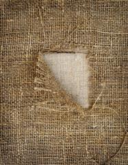 Background texture vintage burlap with hole