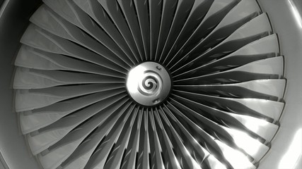 Close-up turbine engine front-end fan.