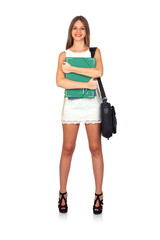 Casual Student Woman with Folder and Briefcase