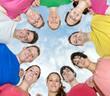 Happy joyful friends forming a circle