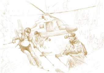 Rescue Team (skiers) - this is drawing converted into vector