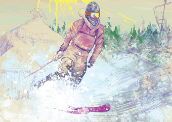 down hill skier - hand drawing converted into vector