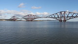 Train crossing Forth Rail Bridge Scotland