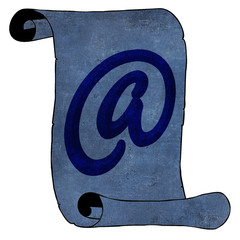 Modern Email Symbol on Blue Old Paper Scroll