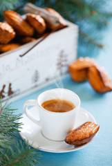Cheese madeleines and cup of coffee
