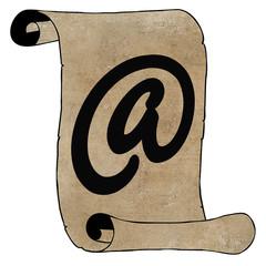Symbolism Modern Email Symbol on Old Paper Scroll