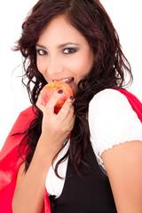 Little Red Riding Hood eating an apple