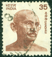 stamp  shows portrait of Mohandas Karamchand Gandhi